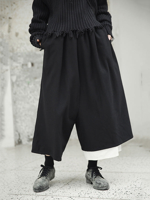 Simple Loose Black Split-joint Wide Leg Pants
