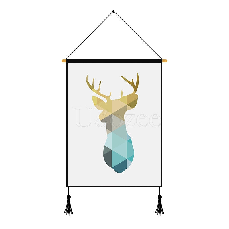 Gradient Deer Geometric Printed Wall Hanging Decoration