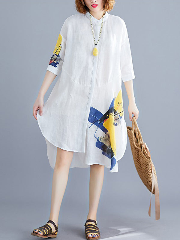 Loose Printed Stand-collar Shirt