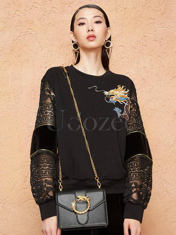 Embroidery Hollow Lace Hoodies Top