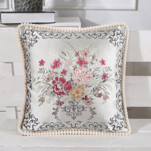 Printed Embroidered Pillow Case