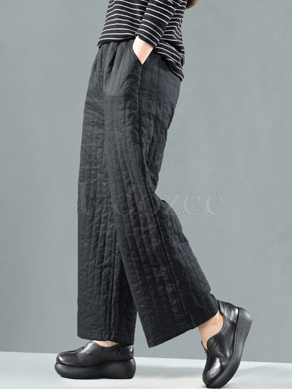 Original Warm Cotton-padded Wide Leg Pants