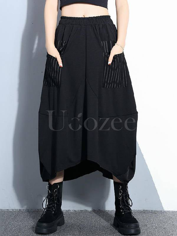 Loose Black A-Line Stripe Cropped Skirt