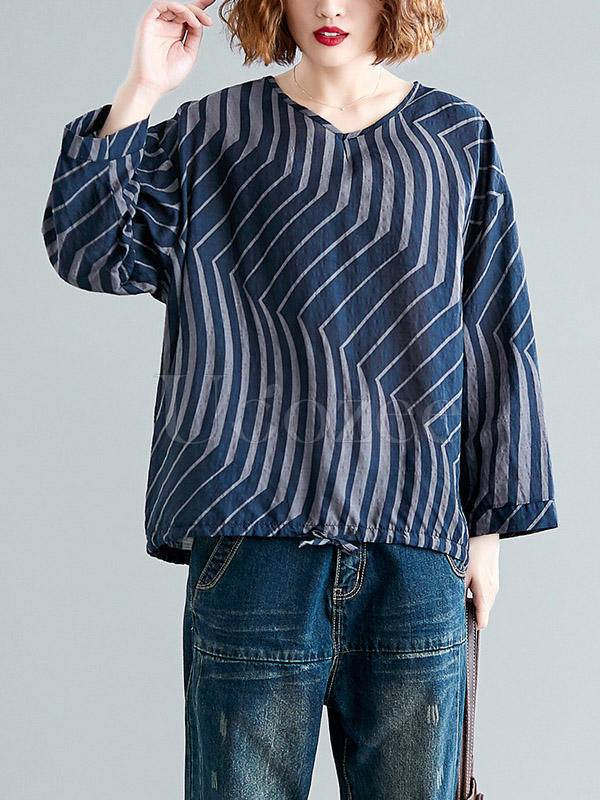 Casual Ramie Cotton Drawstring Line Shirt