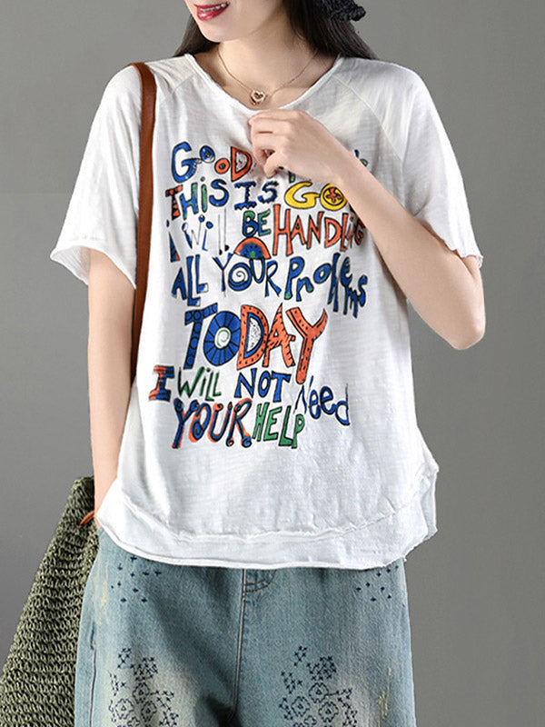 Simple Letter Printed T-shirt