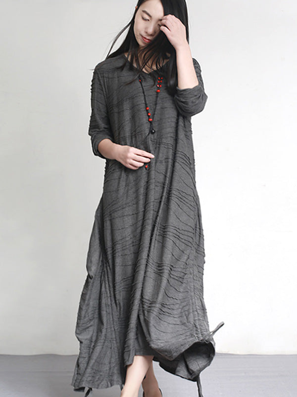 Loose Irregular Fold Long Dress