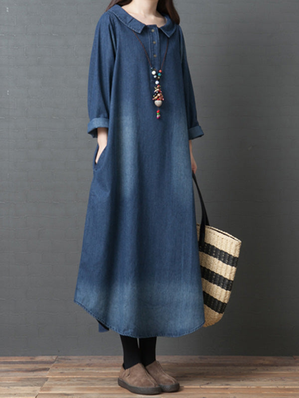 Plus Size Loose Denim Shirt Maxi Dresses