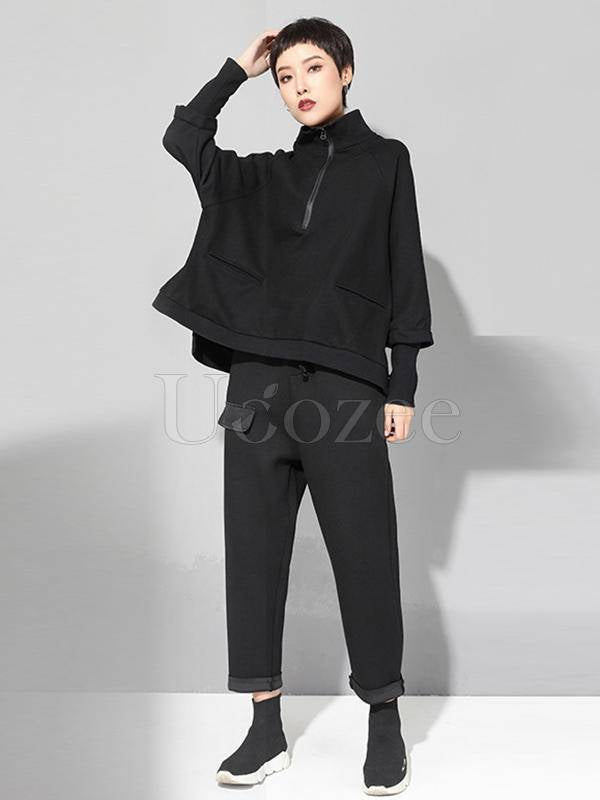 Black Zipper Long Sleeves Cropped T-shirt