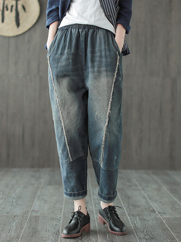 Simple Vintage Split-joint Jean Pants