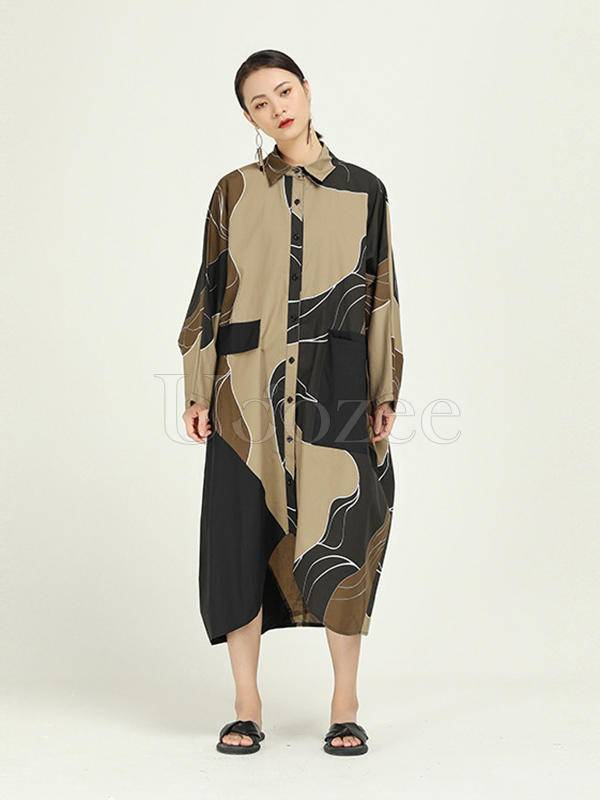 Doodle Print Cropped Splicing Shirt Dress