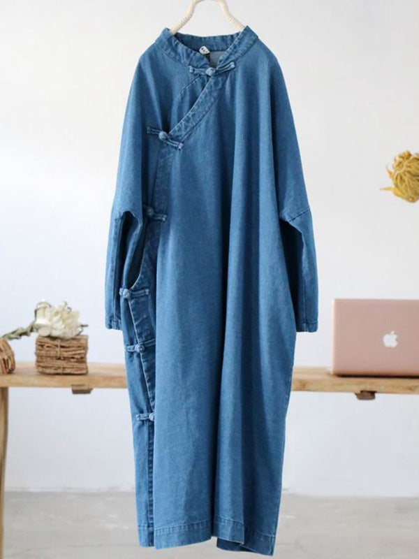National Style Button Long Dress