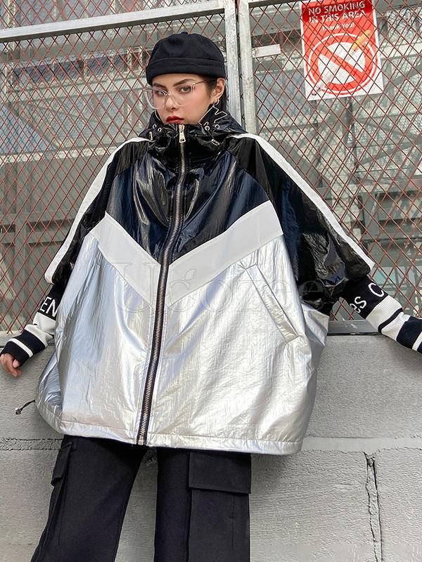 Vintage Loose Splicing Glossy Contrast Color Hood Outwear