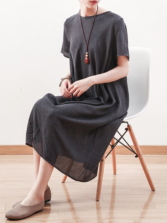 Summer Asymmetric Round-neck Dress