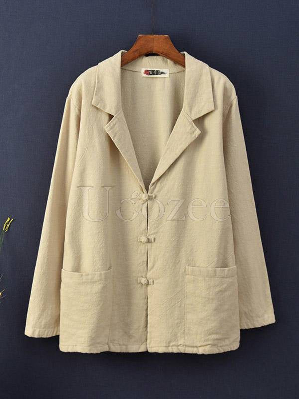 Vintage Solid Color Button Lapel Outwear