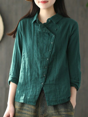 Ramie Cotton Solid Diagonal Button-design Shirt Top