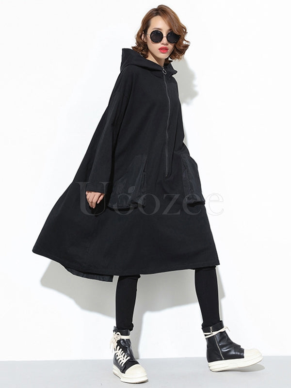 Loose Zipper Split-joint Hoodie Shirt Dress