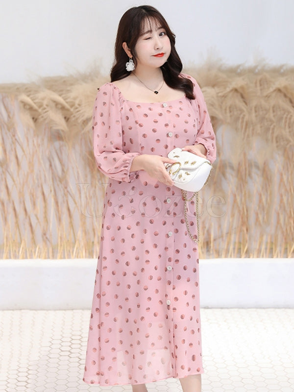 Elegant Polka-dot Chiffon Long Dress