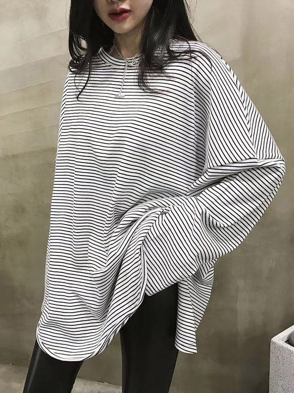 Loose Stripe Comfortable Blouses