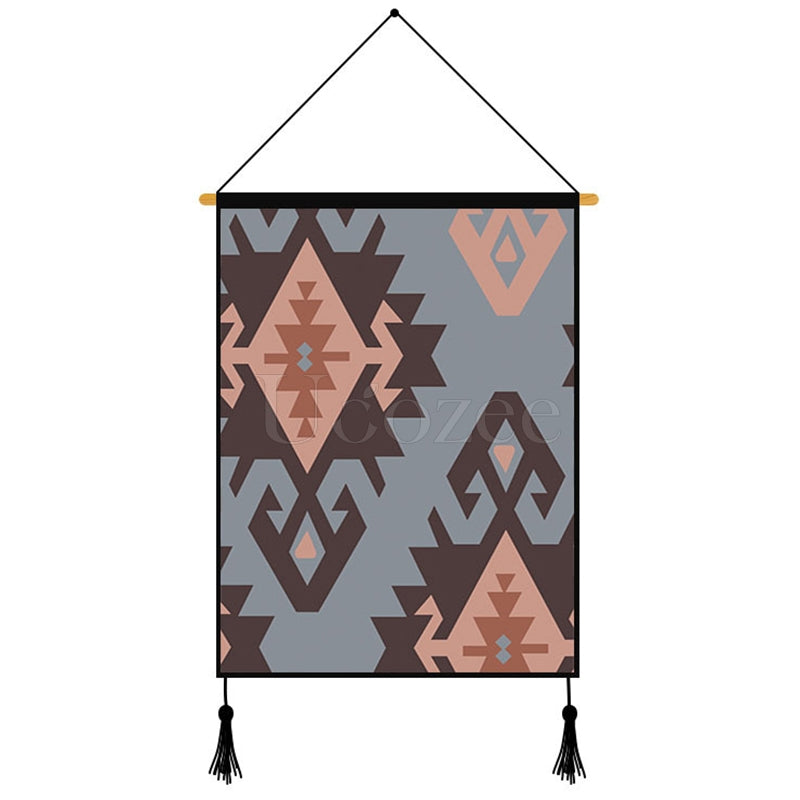 Light Grey Geometric Pattern Printed Wall Hanging Decoration