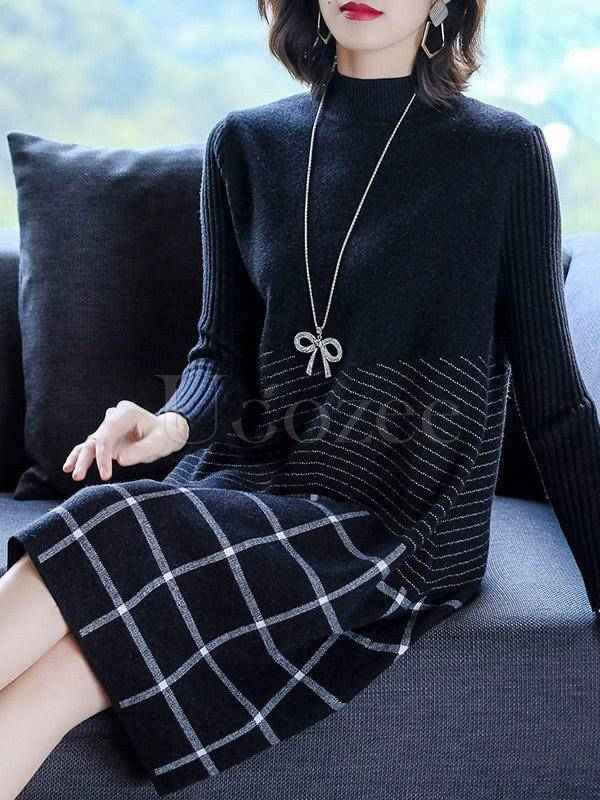 Casual Round-Neck Plaid Knitting Dress