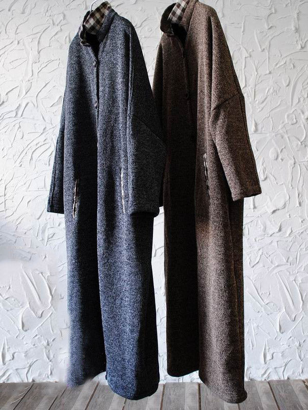 Retro Split-joint Woolen Long Outwear