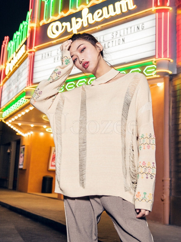 Liebo Casual Hollow Out Embroidered Sweater