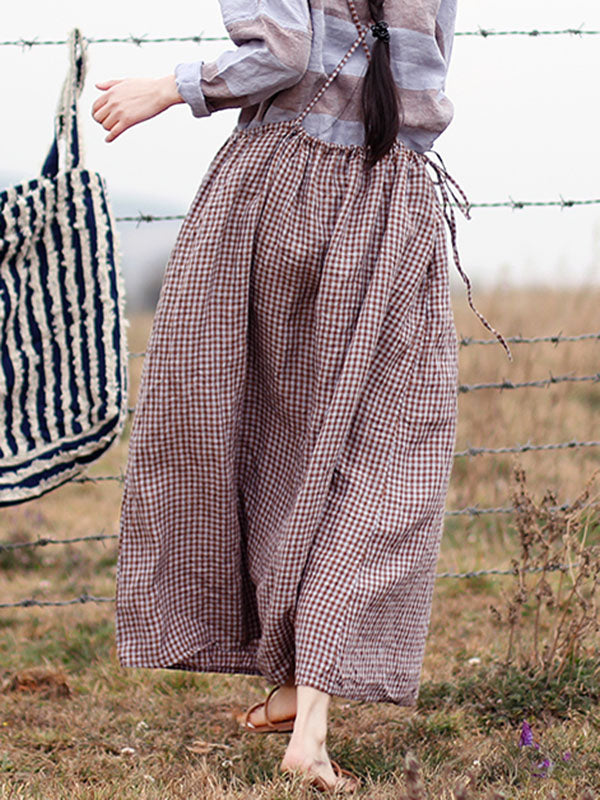 Retro Linen Plaid Braces Skirt