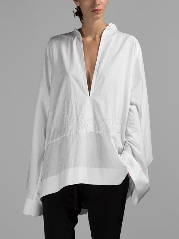 Loose White Deep V-Neck Split-Joint Shirt
