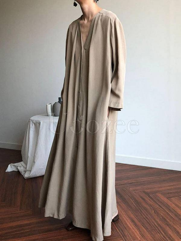 2 Colors V-neck Long Sleeves Belted Maxi Dress