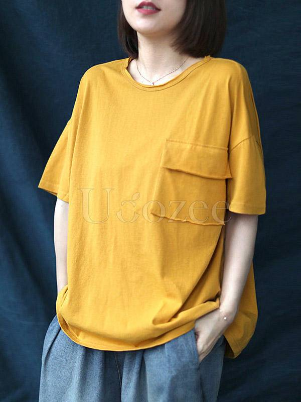 Loose Solid Casual Cropped Round Neck T-Shirt