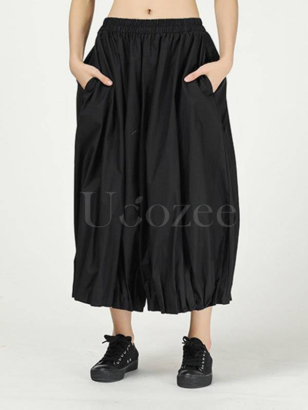 Solid Color Ruffled Loose Bloomers Pants