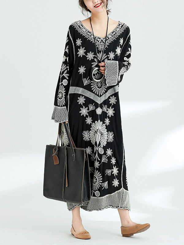 National Embroidered Retro Long Dress