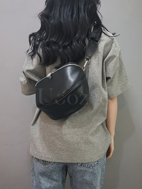 Single Shoulder Diagonal Zipper PU Bag
