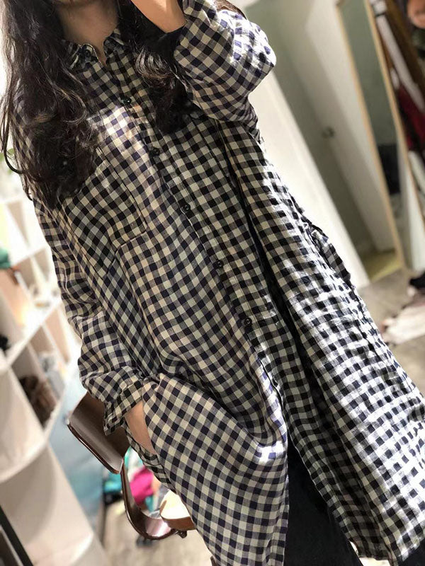 Casual Plaid Split-joint Long Shirt