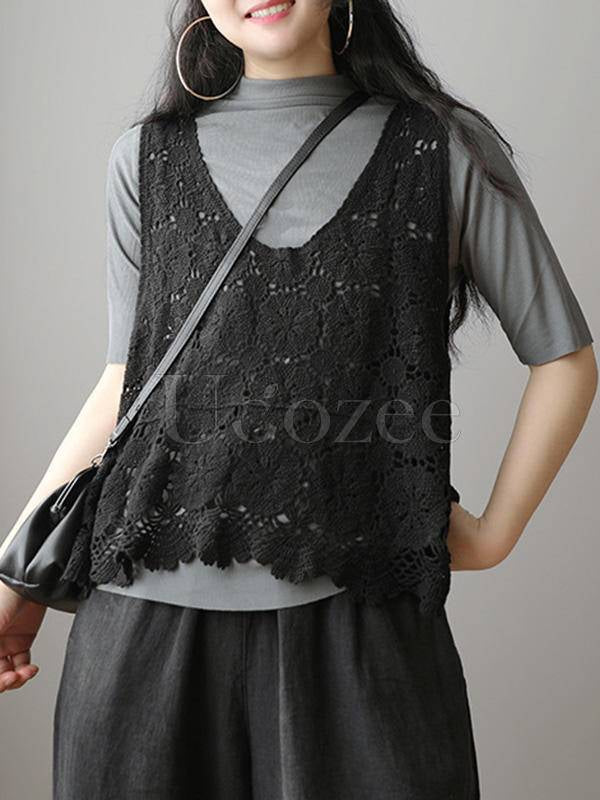Vintage Hollow Crochet Sleeveless Vest