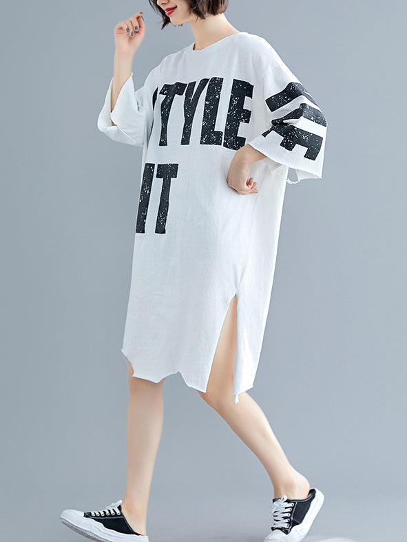 Loose Split-side Printed Dress
