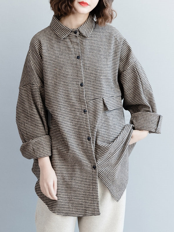 Loose BF Style Plaid Thicken Shirt