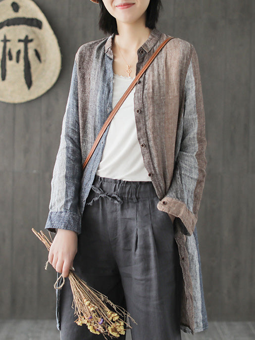 Ramie Cotton Loose Long Shirt Tops