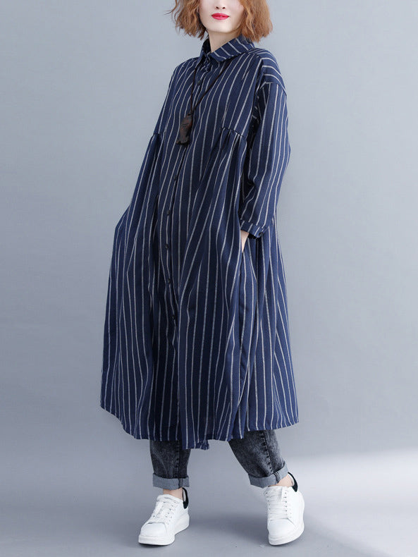 Loose Stripe Cotton Long Cover-up