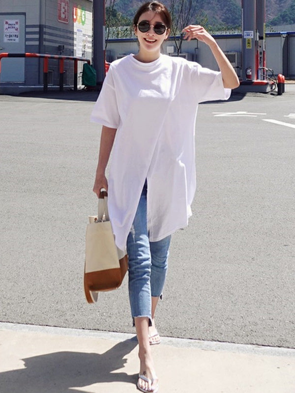 Solid Loose Simple Split-front T-shirt Top