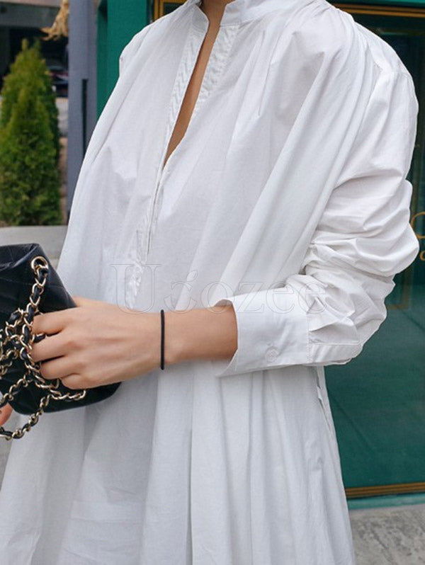 Urban White High-low Lace-up Blouse Dress