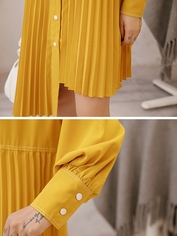 Loose Ruffled Solid Asymmetric Shirt Dress