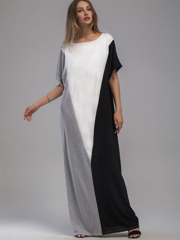 Loose Color-block Split-joint Long Dress