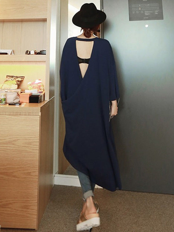 Loose V-back Hollow-out Long Dress