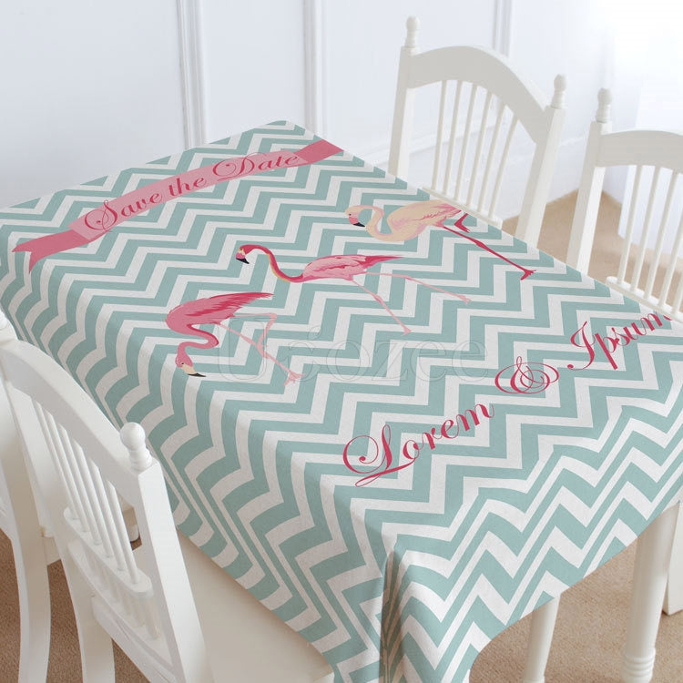 Wave & Red-crowned Crane Casual Printed Tablecloth