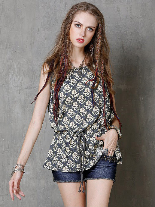 Vingtage Loose Printed Sleeveless Blouse