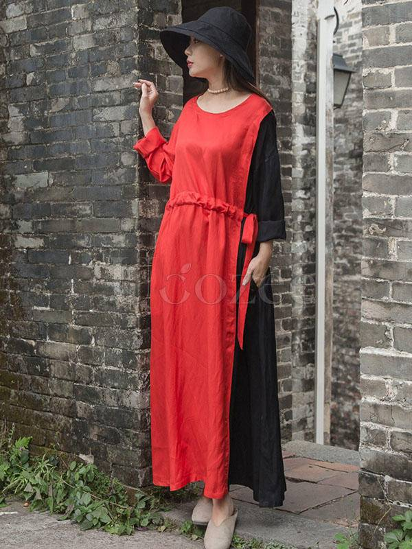 Color Blocking Tencel Linen Round-neck Long Dress