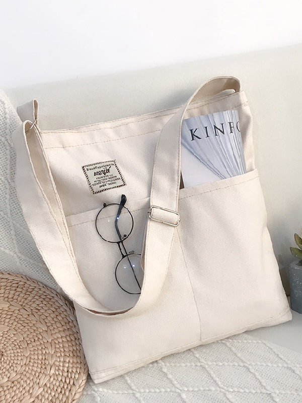 Simple Solid Color With-pockets Canvas Handbag