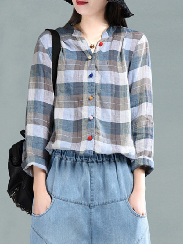 Vintage Plaid Colored Buttons Blouse