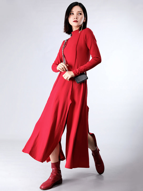 Split-side Cropped Long Dress